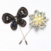 2-Packed Crystal Brooch Lapel Pins, Butterfly and Flower, Handmade Boutonniere Stick with Rhinestone and Acrylic Flowers for Gentleman Suit Wear In Party or Wedding