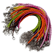 50pcs Bracelet Making Cord, Lystaii Multi Colour Leather Plaited Bracelet Cords Ropes Charms with Lobster Claw Clasp for Bracelets Jewellery Making