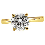 Shraddha Shree Gems certified Diamond 18k hallmark Yellow Gold and Diamond Solitaire ( 0.28 Carat ) Engagement Ring
