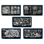 Bundle Monster 5pc XL Nail Plate Set Special FX Collections XL-451 to XL455