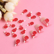 Ottery 3D Red and White Lollipop Cute Design Nail Art Decoration Accessories