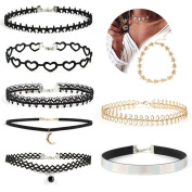 Accessories WILLTOO 6/8 Pcs Classic Stretch Velvet Gothic Tattoo Lace Choker Necklace Set