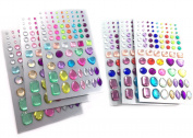 Finov Self-adhesive Rhinestone Sticker Bling Craft Jewels Crystal Gem Stickers, Multi-colour, Assorted Size, 6 Sheets