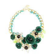 Deboc Fashion Women Statement Flower Necklace Gemstone Choker Chunky Collar Pendant