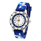 Jian Ya Na Kids Teenager Wristwatch Quartz Watch 3D Camouflage Rubber Wrist Band for Students Round Analogue Wristwatches Promotion Gifts for Young Kids Aged form 10 to 20 Years Old