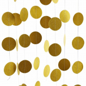 Echodo Gold Circle Dots Glitter Paper Garland Party Decorative Paper Circle Dots Hanging String for Birthday Wedding Decorations 4 Packs