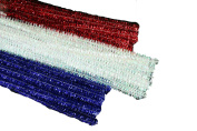 PATRIOTIC Set of 75 Metallic Tinsel Pipe Cleaners for Kids Crafts, Embellishing and Group Projects