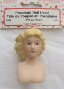 Fibre Craft 1 PIECE of PORCELAIN DOLL HEAD 5.1cm - 1.9cm w Moulded BLONDE HAIR