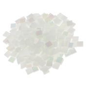 Jili Online 250 Pieces Colourful Square Vitreous Glass Mosaic Tiles Pieces for DIY Art and Crafts Supplies 10x10mm - Bright white