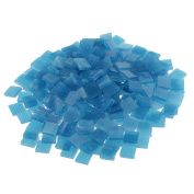 Jili Online 250 Pieces Colourful Square Vitreous Glass Mosaic Tiles Pieces for DIY Art and Crafts Supplies 10x10mm - Lake blue