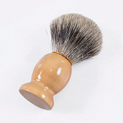 MSmask Pure Badger Hair Shaving Wooden Brush and Chrome Stand