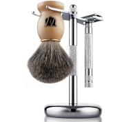 Miusco Men's Shaving Set, Safety Razor, Badger Hair Shaving Brush, Shaving Stand, Chrome