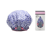 Dry Divas Designer Shower Cap For Women - Washable, Reusable - Large Bouffant Cap With Vintage Jewelled Brooch