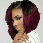 Worldflying Short Wavy Synthetic Hair Wig Ombre Burgundy Heat Resistant Wigs for Black Women