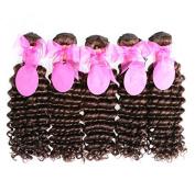 Worldlfying 100% Brazilian Unprocessed Virgin Deep Wave Human Hair Weave 5 Bundles Natural Brown 2# Colour Curly Wave Hair Extensions Mixed Length 5pcs 50cm
