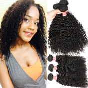 Pizazz Brazilian Curly Hair Weave 3 Bundles Remy Kinky Curly Hair Unprocessed Human Hair Weave Natural Black