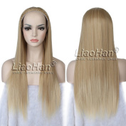 Long Wavy Ombre Hair Fall Synthetic Half Head Wig Fall 3/4 Wig Hairpieces Brown Blonde Wig