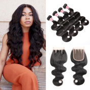 Beauty Princess Hair Brazilian Vigin Hair 4 Bundles with Three Part Lace Closure Unprocessed 100% Human Hair Bundles with Lace Closure Brazilian Body Wave Natural Colour