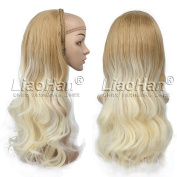 Long Wavy Ombre Hair Fall 3/4 Half Wig Hairpieces Synthetic Half Head Wig Ombre Brown to Blonde Wig Fall for Women