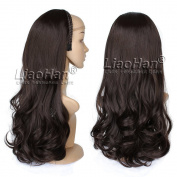 Chocolate Brown Hair Fall Long Wavy 3/4 Half Wig Hairpieces Synthetic Half Head Dark Brown Wig Fall