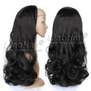 Natural Black Hair Fall Long Wavy 3/4 Wig Hairpieces Synthetic Half Head Wig Fall