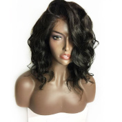 BeautyGal 60cm Long Curly Lace Front Wig High Density Body Wave Hair Side Part Synthetic Wigs