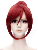 Anime Love Live! School idol project Nishikino Maki Cosplay Wigs Short Heat Resistant Wine Red Costume Wig with Bun
