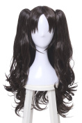 ROLECOS Tohsaka Rin Cosplay Wigs Womens Long Wavy 2 Ponytails Synthetic Wig Dark Brown