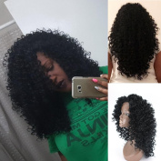 V'NICE Synthetic Lace Front Kinky Curly Wigs 180 Density Black Kinky Curly Wigs for Women