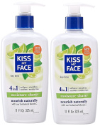 Kiss My Face Key Lime Shaving Cream (Pack of 2) With Aloe Vera, Vitamin E, and Olive Oils, 330ml