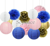 Sopeace Pack of 15 White Pink Royal Blue Paper Lanterns Home Party Wedding Honeycomb Balls Tissue Pom Poms Flower Valentines Hanging Decor