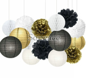 Sopeace 15 Pcs Black and Gold Tissue Paper Flowers Pom Poms Lanterns and Garland for Baby Shower Party Decoration