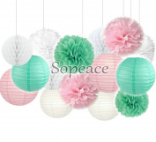 Sopeace 15 pcs Mixed Pink Mint Green White Party Decoration Kit Tissue Paper Pom Poms Flowers Paper Lanterns and Star Garland for Birthday,Baby,Bridal Shower,Room decor & Themed Party Decoration Favour