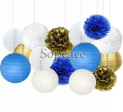 Sopeace 15ps White Royal Gold Party Decoration Party Decor Tissue Paper Pom Pom Tassel Garland Polka Dot Tissue Poms Paper Garland for Wedding Baby Shower Decoration Bridal Shower Blue First Birthday