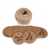 100 PCS 'Thank You' Printed Kraft Paper Gift Tags with String Wedding Square Craft Hang Tags Bonbonniere Favour Gift Tags with Jute Twine 30 Metres Long for Crafts & Price Tags Labels