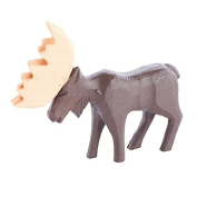 Package of 3 Miniature Hand Carved Wood Moose Figure for Kids Crafting, Holiday Embellishing and Creating