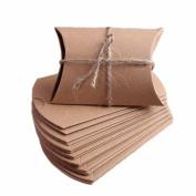 100pcs Brown Kraft Paper Wedding Gift Boxes Pillow Shape Favour Gift Bag Candy Box Party Supplies