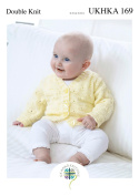 Double Knitting Pattern for Baby Lace Cardigans Round V Neck or Collared Styles