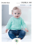 Double Knitting Pattern for Baby Cabled Detail Sweater & Long or Short Sleeve Cardigan