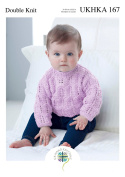 Double Knitting Pattern for Baby Lace Detail V Neck Cardigan & Sweater