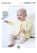 Double Knitting Pattern for Baby Lace Detail Round or V Neck Cardigan & Matinee Coat