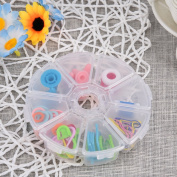 Sundlight 89Pcs/Box Basic Sewing Knitting & Crochet Tools Accessories Sweather Mark Buckle Counter Needle Cap Set Clear Colour Tool Case