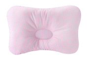 Baby Pillow For Newborn Breathable 3-Dimensional Cool Air Mesh Organic Cotton, Protection for Flat Head Syndrome Cheque Pink