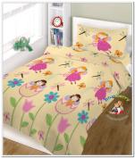 """BlueberryShop 2 pcs BABY COT BED BUNDLE BEDDING SET DUVET+PILLOW COVERS 90 x 120 cm (35.5"""" x 47"""") ( 0-7Yrs ) ( 120 x 90 cm ) Cream Fairy"""