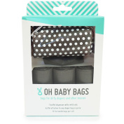 Oh Baby Bags Nappy Bag Clip-On Dispenser Gift Box with Disposable Bags for Dirty Nappies - Recycled Plastic - Grey Dot Duffle plus 48 Grey Unscented Bags