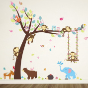 ElecMotive Cartoon Forest Animal Monkey Owls Hedgehog Tree Swing Nursery Wall Stickers Wall Murals DIY Posters Vinyl Removable Art Wall Decals for Kids Girls Room Decoration