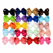 20pcs/lot 8.4cm Style Solid Grosgrain Ribbon Bows With Hair Clips Baby Boutique kids Girls Hair Headband Accessories Christmas Gift