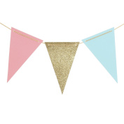 Ling's moment 3m Triangle Flag Bunting Banner - Upgrade Version, Vintage Style Pennant Banner for Wedding, Baby Shower, Event & Party Supplies, 15pcs Flags