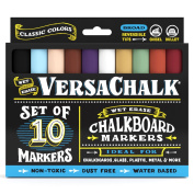 Chalkboard Chalk Markers by VersaChalk - Classic Colours (10-Pack) | Dust Free, Water-Based, Non-Toxic | Wet Erase Chalk Ink Pens
