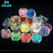 Happlee 24 Jars Colourful Manicure Glitter, Extra Fine and Flake Glitter Assorted Colour Kit, Perfect for Children & Adult Art Projects Home or School, Scrapbooking, Premium Nail Art, Crafts